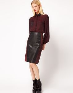 Pencil leather skirt with colour block