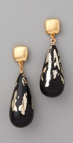 "Kenneth Jay Lane  Black & Gold Leaf Earrings  2.5"" long"
