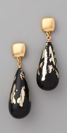 "Kenneth Jay Lane  Black & Gold Leaf Earrings  2.5"" long"
