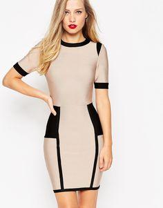 ASOS SCULPT Colour Block Mini Cut Out Bodycon Dress