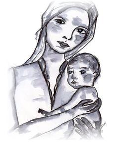 Custom fine art original mother and child by JaneLazenbyartist, $18.00
