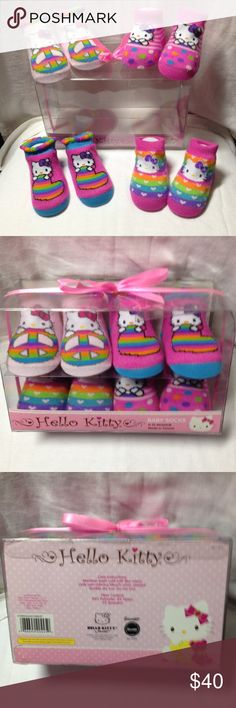 Hello Kitty 4 Pair Pack multi Color Baby Socks Hello Kitty 4 pair set Baby Socks in original display case 90 % Polyester 8% Nylon 2% Spandex Pink White (with multi colored patterns) Hello Kitty Accessories Socks & Tights
