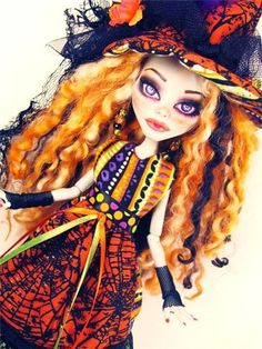 Custom Ghoulia Witch OOAK Monster High Doll Repaint Mohair Face Up Complete New   eBay
