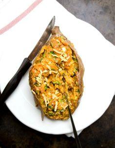 Twice Baked Walnut and Broccoli Sweet Potatoes