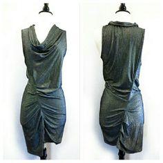 "Cynthia Steffe Silver Gathered Drape Dress NWT. Runs small. Armpit to armpit flat across is 16"" waist is 14"". Unlined. Viscose/nylon/metallic/spandex blend. Super stretchy. Cynthia Steffe Dresses Mini"
