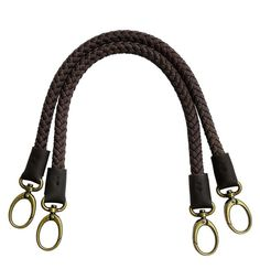 52cm Bag Handle BH02, Linen plait with leather wrap and metal hooks, 1 pair, 2 colors