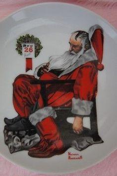 VINTAGE Norman Rockwell Plate Sleeping Santa