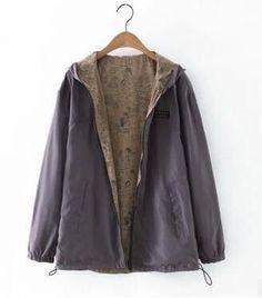 KULAZOPPER Early autumn both sides wear loose large size basic jacket women hooded zipper casual print jacket outwear qw148