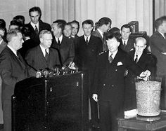 29 Oct 40: For the first time in American history, a peacetime draft begins. A lottery system is used to select men to serve for twelve months. Secretary of War Henry Stimson, blindfolded, reaches into a bowl and pulls out the first capsule. From a nearby podium, FDR announces the number drawn: 158. Across the country, 6,175 young men hold that number. More: http://scanningwwii.com/a?d=1029&s=401029