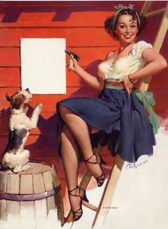 Pin Up Vintage, Retro Pin Up, Vintage Romance, Vintage Avon, Pinup Art, Gil Elvgren, Pin Up Zeichnungen, Glamour, Moda Pin Up
