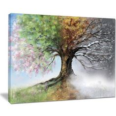 """DesignArt 'Tree with Four Seasons' Painting Print on Wrapped Canvas Size: 30"""" H x 40"""" W x 1"""" D"""
