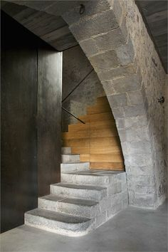 contrastes   http://www.enricduch.com interior design, houses, anna noguera, stairs, wood, alemani, stone, staircas, modern gothic architecture