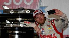 Unique trophies in NASCAR  Let Dale Earnhardt Jr. take a selfie with the Harley J. Earl Trophy, named for the initial head of design at General Motors. Earnhardt claimed his second Daytona 500 in February 2014
