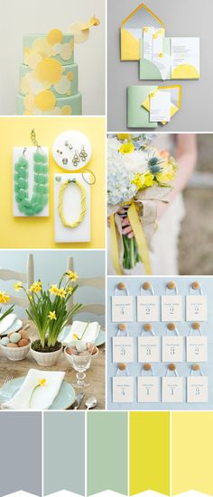 A Modern Spring Wedding Color Palette | pale yellow, sage green, gray, duck egg blue - all bring the fun and pretty into Spring! Love the daffodils www.onefabday.com