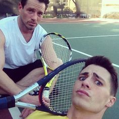 Exhausting tennis game with Ian Bohen REASON: haha the face they look like fun people