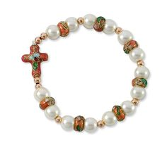 Catholic Bracelets - Cross Bracelet with Pink Cloisonne Rondelle and White simulated Glass Pearl Beads -- Trust me, this is great! Click the image. : Jewelry Trends