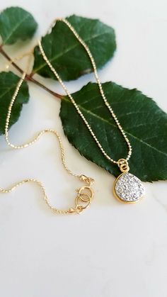 Silver Heart Shaped Druzy Necklace. 14K Gold Filled Ball Chain Necklace with Silver Druzy Bezel. Silver Druzy Necklace. by EveilleJewelry on Etsy