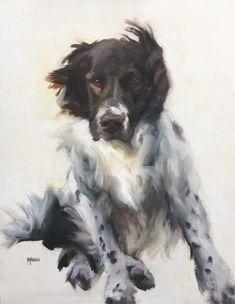 """Johanne Mangi, """"Windblown Charlie,"""" 2017, oil, 18 x 14 in. #animalart #dogs #fineart"""