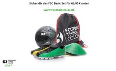 Football3color basic set: Perfect equipment for the best and most effective soccertraining! Threecolored soccerboot, soccerball, gymbag and cones starting at 69,90€  www.football3color.eu