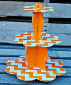 Orange Three-Tier Cupcake Stand by Expect Personality on #zulily #zulilybday