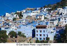 Stock Photo - Panoramic view of blue city of Chefchaouen - stock image, images, royalty free photo, stock photos, stock photograph, stock photographs, picture, pictures, graphic, graphics