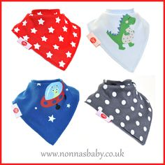 Cool, Stylish and Fashionable Bandana Bibs Sets! Sets of four fun and colourful bibs with two poppers. Fun Characters: https://nonnasbaby.co.uk/shop/fun-bandana-bibs-cool-style/