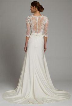 Sheath Sommar Lantlig Spets Brudklänning Bröllopsklänning Klänning på
