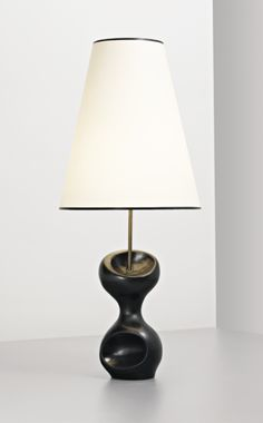 Georges Jouve; Glazed Stoneware and Tubular Brass Table Lamp, c1958.