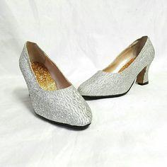 Lurex Silver pumps vintage shoes evening 60s chaussures 5  36