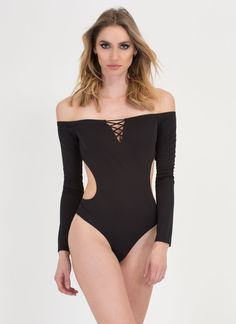 7f5a526150 X Woman Off-Shoulder Thong Bodysuit BLACK DEEPRED - GoJane.com Black  Bodysuit