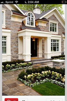 Beautiful Exterior Home Design Trends: Beautiful Front Yard/entrance To This Stylish Southern Future House, My House, House Front, House Porch, Style At Home, House Goals, Home Fashion, Exterior Design, Stone Exterior