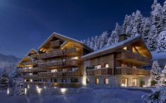 Parc Alpin is a new luxury build in the centre of Meribel. The high-end property has an open-planned kitchen, living and dining area making the building spacious. The development is also ideally located with easy access to the slopes and all the villages services and amenities. Investment Property, Property For Sale, Perspective, French Property, Construction, 3d Visualization, New Builds, Log Homes, Architecture