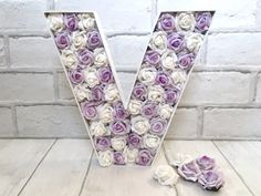 Lavender and white rose decor, Wedding rose letter, Initial for centrepiece, Lilac event decor, Monogram for Bride and Groom, Gift for Baby by LoveLettersbyAnalisa on Etsy