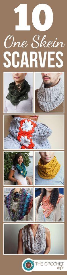 10 One Skein Crochet Scarf Patterns, roundup on Crochet Cafe