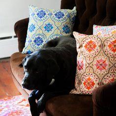 Jennifer Paganelli Back Bay Blue Green Embroidered Pillow @LaylaGrayce #laylagrayce #gabbyfurnishings