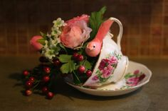 teacup arrangements | Teacup Bird Feeder or Floral Arrangement