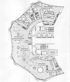 In-Spired: Condo tower's creative shape leads to some unusual floor plans - YoChicago Restaurant Floor Plan, Hotel Floor Plan, House Floor Plans, Cafe Floor Plan, The Plan, How To Plan, Unique Floor Plans, Apartment Floor Plans, Floor Plan Layout