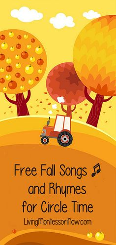 Living Montessori Now has a great list of fall songs to use during circle time. Most of the songs also have a video to go along with them. Fall Preschool, Preschool Songs, Preschool Classroom, Kids Songs, In Kindergarten, Rhymes Songs, Kids Music, Preschool Ideas, Teaching Ideas