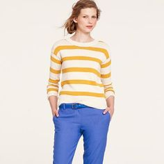 Love the yellow stripes with bright blue top j. crew