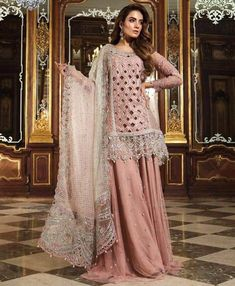 Pakistani Bridal Sharara in Beutiful Baby Pink Color By Maria.B With Cutwork Jaal,Handwork,Sequance,And Tilla Threads Embroidery. Pakistani Dresses Online, Pakistani Wedding Dresses, Pakistani Dress Design, Formal Dresses For Weddings, Pakistani Outfits, Indian Dresses, Indian Outfits, Formal Wedding, Pakistani Gharara
