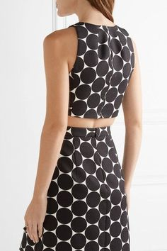Michael Kors Collection - Cropped Polka-dot Cotton And Silk-blend Matelassé Top - Black - US6