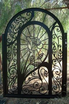 Wrought iron rose gate