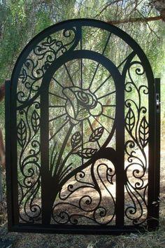 Wrought iron rose gate