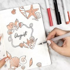 Bullet Journal: August Cover Page Bullet Journal August, Bullet Journal School, Bullet Journal Cover Page, Bullet Journal Notebook, Bullet Journal Spread, Bullet Journal Ideas Pages, Bullet Journal Inspiration, Journal Pages, Life Journal