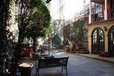 Secret courtyard, Clinton Court, Hells Kitchen, NYC.