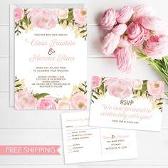 Pink Floral Wedding invitation set #weddingideas #weddinginvitations