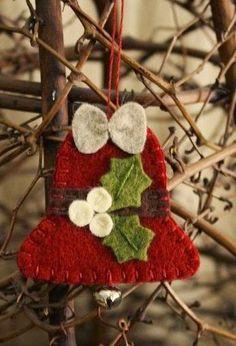 Items similar to holly bell felt ornament wool felt holiday decoration on Etsy Felt Christmas Decorations, Felt Christmas Ornaments, Handmade Decorations, Handmade Ornaments, Handmade Christmas, Christmas Crafts, Felted Wool Crafts, Felt Crafts, Felt Ornaments Patterns