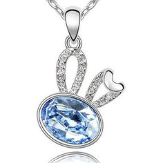 Amazon.com: Contessa Bella Fancy Genuine 18k White Gold Plated Light Powder Blue and Clear Swarovski Austrian Crystal Elements Beautiful Bunny Rabbit Women Charm Pendant Necklace Elegant Silver Color Crystal Animal Fashion Jewelry: Jewelry