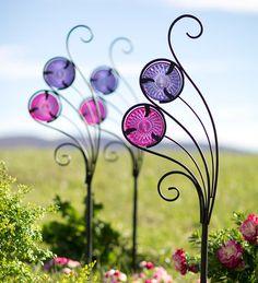 Swirl Garden Stake with Glass Inserts | Decorative Garden Accents