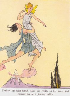 """Zephyr carried her to a flowery valley  Cupid and Psyche   """"Myths and Enchantment Tales"""" stories and illustrations by Margaret Evans Price. 1940 Rand McNally and Co. edition taken from """"A Child's Book of Myths,"""" copyright 1924, and """"Enchantment Tales for Children,"""" copyright 1926."""